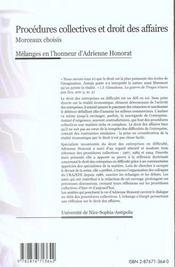 Procedures collectives et droit des affaires - 4ème de couverture - Format classique