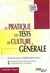 Pratique tests de culture generale - Intérieur - Format classique