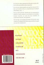 Pratique tests de culture generale - 4ème de couverture - Format classique