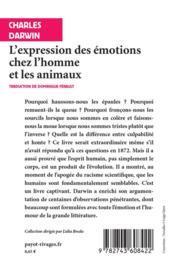 L'expression des émotions chez l'homme et les animaux - 4ème de couverture - Format classique
