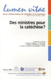 Revue Lumen Vitae N.3 ; Des Ministères Pour Catéchese ? (Edition 2010) - Couverture - Format classique