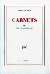 Carnets t.3 ; mars 1951 - décembre 1959 - Couverture - Format classique