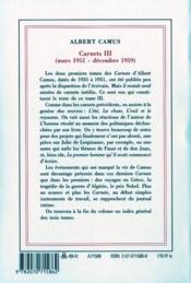 Carnets t.3 ; mars 1951 - décembre 1959 - 4ème de couverture - Format classique