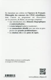Dissertation sur les passions ; Hume ; texte au programme des CPGE scientifiques ; concours 2016-2017 - 4ème de couverture - Format classique