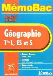 Memobac ; geographie ; terminale l es s ; edition 2002 - Intérieur - Format classique