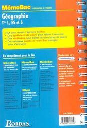 Memobac ; geographie ; terminale l es s ; edition 2002 - 4ème de couverture - Format classique