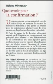 Quel avenir pour la confirmation ? ; un enjeu pastoral - 4ème de couverture - Format classique