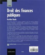Droit des finances publiques (édition 2018) - 4ème de couverture - Format classique