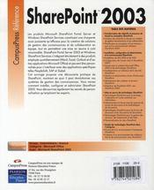 Sharepoint 2003 - 4ème de couverture - Format classique