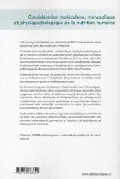Considération moléculaire, métabolique et physiopathologique de la nutrition humaine ; UE 1 (2e édition) - 4ème de couverture - Format classique