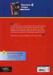 Éducation civique ; 4ème ; livre de l'élève (édition 2011) - 4ème de couverture - Format classique