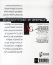 Expérience esthétique et art contemporain - 4ème de couverture - Format classique