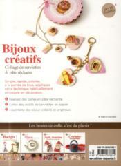 Bijoux créatifs ; collage de serviettes & pâte séchante - 4ème de couverture - Format classique