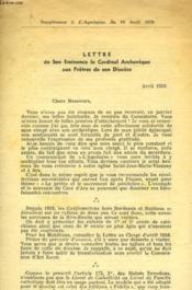 Lettre De Son Eminence Le Cardinal Archeveque Aux Pretres De Son Diocese - Couverture - Format classique