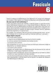 Que Savez-Vous De L'Outil Mathematique ? Fascicule 6 - 4ème de couverture - Format classique