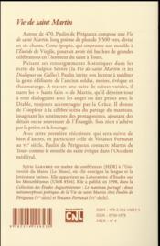 Vie de Saint Martin t.1 ; prologue, livre I-III - 4ème de couverture - Format classique