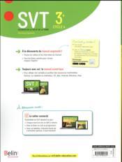 SVT ; 3e ; livre de l'élève (édition 2017) - 4ème de couverture - Format classique