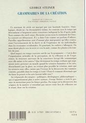 Grammaires De La Creation - 4ème de couverture - Format classique