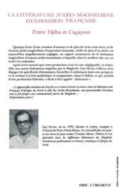 La littérature judéo-maghrébine d'expression française - 4ème de couverture - Format classique