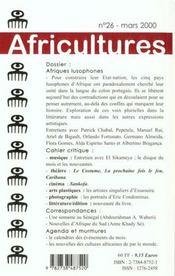 Revue Africultures N.26 ; Afriques Lusophones - 4ème de couverture - Format classique