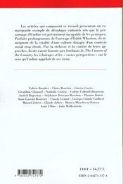 Lectures D'Une Oeuvre ; The Custom Of The Country De Edith Wharton - 4ème de couverture - Format classique