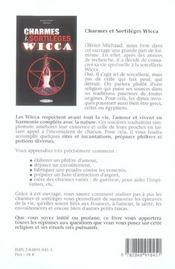 Charmes et sortileges wicca - 4ème de couverture - Format classique