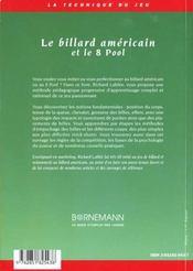 Le billard americain et le 8 pool - 4ème de couverture - Format classique