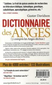 Dictionnaire des anges - 4ème de couverture - Format classique