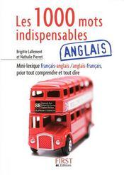 Les 1000 mots indispensables ; français/anglais ; anglais/français - Couverture - Format classique