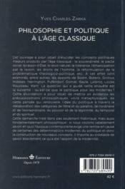 Philosophie et politique a l'age classique - 4ème de couverture - Format classique
