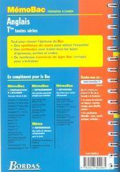 Memo anglais terminale - 4ème de couverture - Format classique
