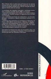 Sociologie de l'éducation ; dix ans de recherches - 4ème de couverture - Format classique