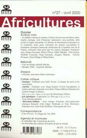 Revue Africultures N.27 ; Acteurs Noirs - 4ème de couverture - Format classique