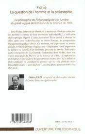 Fichte ; La Question De L'Homme Et La Philosophie - 4ème de couverture - Format classique