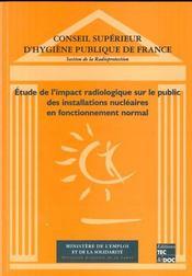 Etude de l'impact radiologique sur le public des installations nucleaires en fonctionnement normal - Intérieur - Format classique