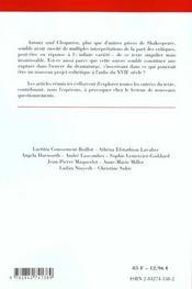 Lectures D'Une Oeuvre ; Antoine Et Cleopatre De William Shakespeare - 4ème de couverture - Format classique