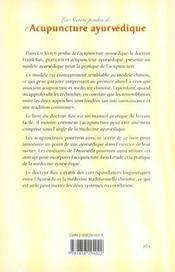 Les Secrets Perdus De L'Acupuncture Ayurvedique - 4ème de couverture - Format classique