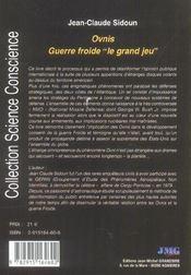 Ovnis Guerre Froide - Le Grand Jeu - 4ème de couverture - Format classique