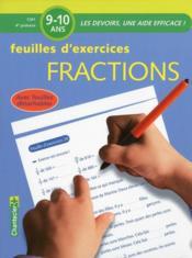 Feuilles d'exercices fractions ; CM1, 4e primaire - Couverture - Format classique