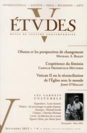 Revue Etudes ; Septembre 2012 - Couverture - Format classique