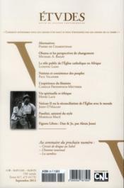 Revue Etudes ; Septembre 2012 - 4ème de couverture - Format classique