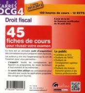 DCG 4 ; droit fiscal 2012-2013 (3e édition) - 4ème de couverture - Format classique