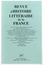 Revue D'Histoire Litteraire De La France N.2013/2 - Couverture - Format classique