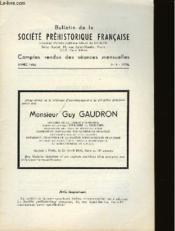 Bulletin De La Societe Prehistorique Francaise - Comptes Rendus Des Seances Mensuelles - Annee 1965 - N°4 Avril - Couverture - Format classique