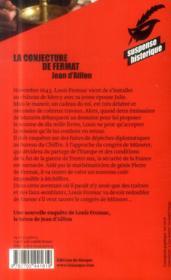 Les enquêtes de Louis Fronsac T.5 ; la conjecture de Fermat - 4ème de couverture - Format classique