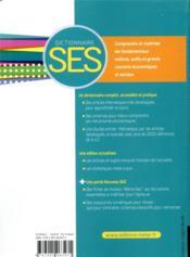 Dictionnaire SES (édition 2020) - 4ème de couverture - Format classique