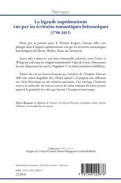 La légende napoléonienne vue par les écrivains romantiques britanniques (1796-1815) - 4ème de couverture - Format classique