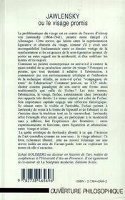 Jawlensky Ou Le Visage Promis - 4ème de couverture - Format classique
