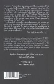 Lettres d'amerique - 4ème de couverture - Format classique