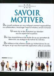 Savoir Motiver. Appréciation, Comportement, Responsabiliser, Carrière, Dynamiser... - 4ème de couverture - Format classique